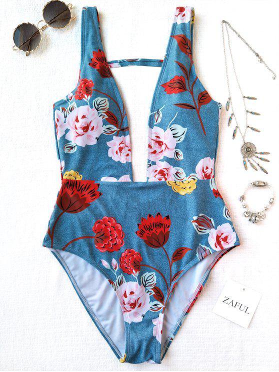 Einteiliger Plunge Hohe Schlitz Blumen Badebekleidung - Helles Blau L