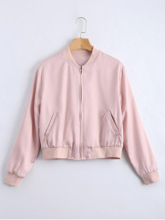 outfits Embroidered Zip Up Souvenir Jacket - PINK S