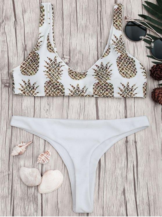 fancy Pineapple Print Padded Bralette Bikini Set - WHITE S