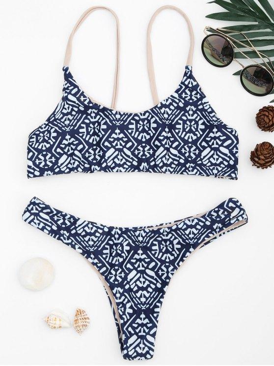 affordable Tile Print Cami Bralette Bikini Set - BLUE AND WHITE S
