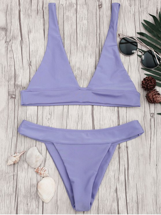 hot Plunge Bikini Top and High Cut Bottoms - PURPLE S