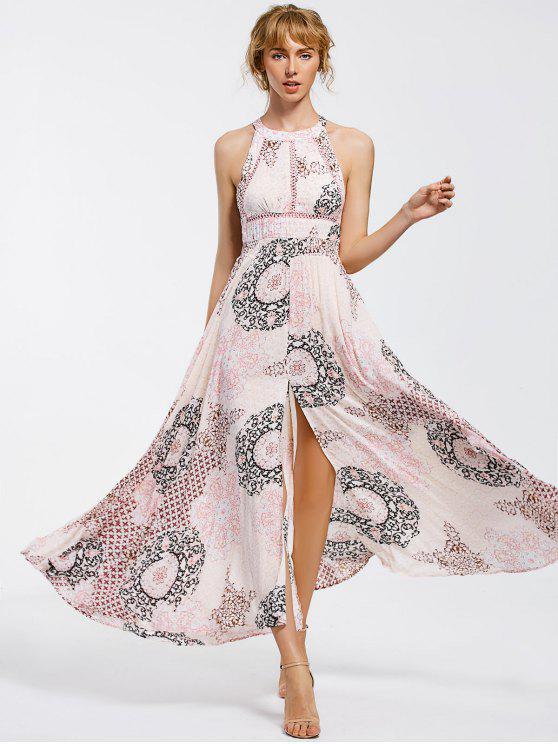 womens Bowknot Sheer Cut Out Maxi Dress - COLORMIX S