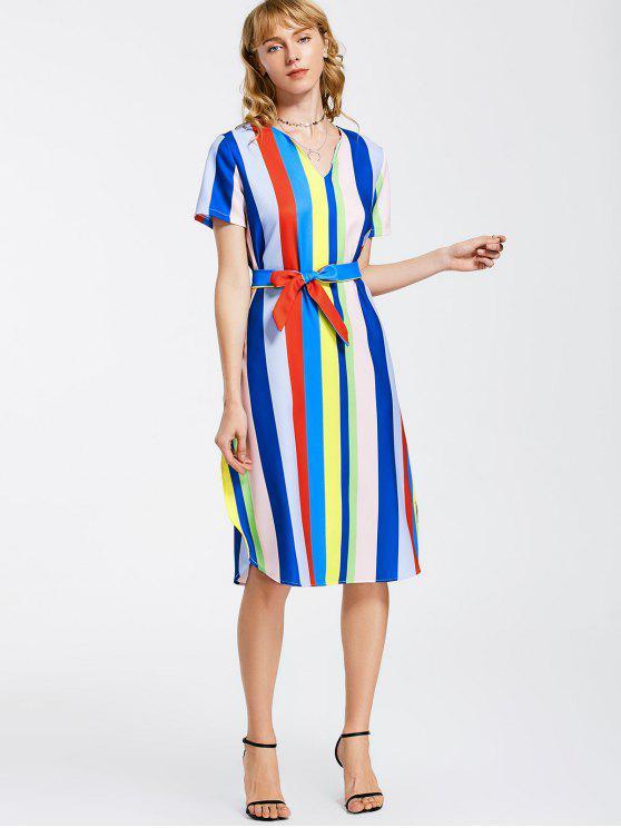 ladies Belted Stripes Casual Midi Dress - STRIPE XL