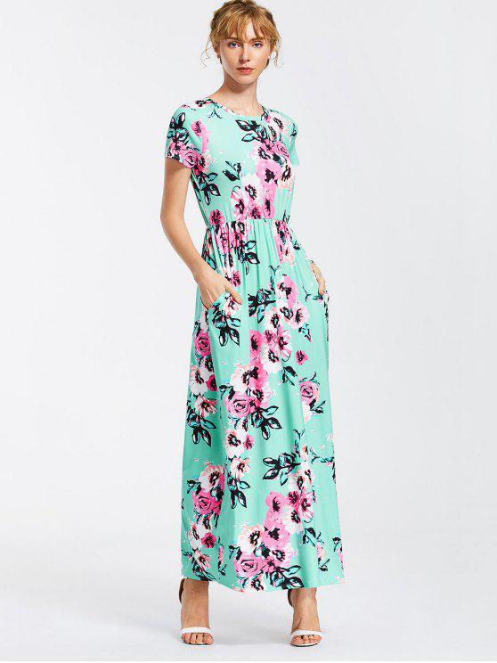 فستان ماكسي دائرة الرقبة طباعة الازهار - البحيرة الخضراء M