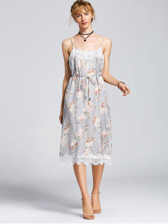 sale Belted Lace Trim Floral Slip Dress - FLORAL L