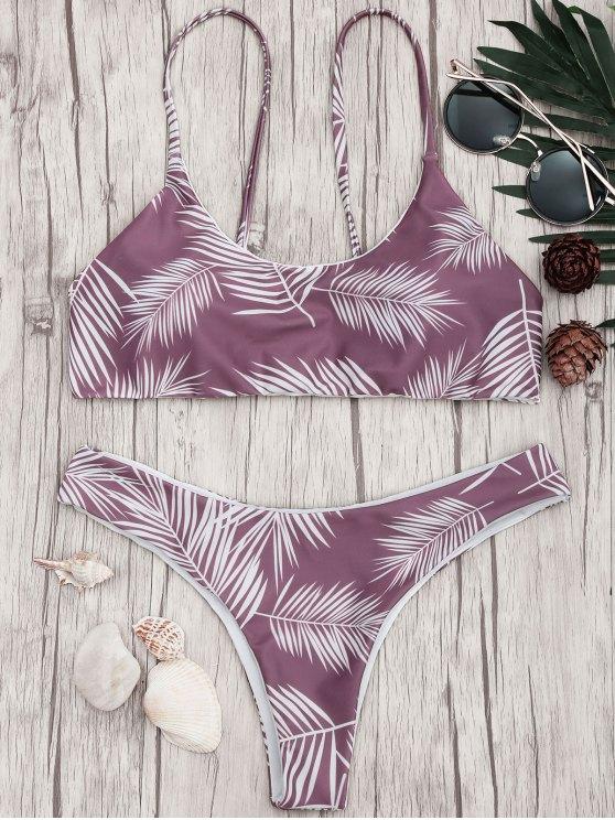 shop Palm Leaf Print Padded Bralette Bikini Set - PURPLE AND WHITE M