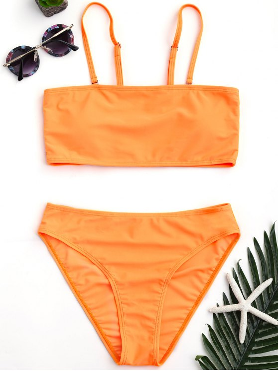 affordable Padded High Cut Bandeau Bikini Set - ORANGE M