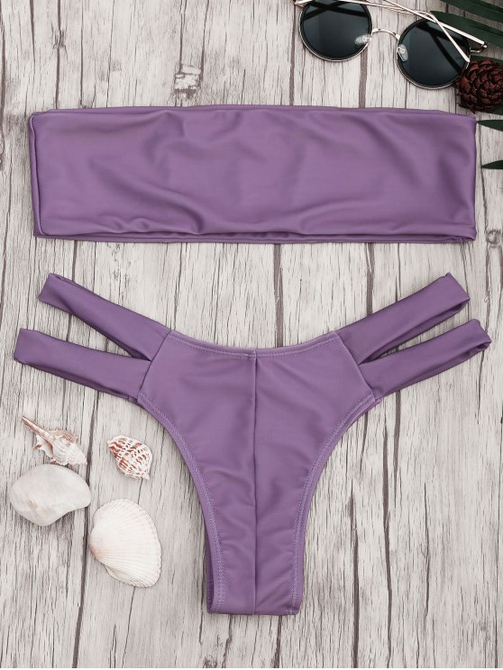 women Strapless Bandeau Bikini Top and Cutout Bottoms - PURPLE M
