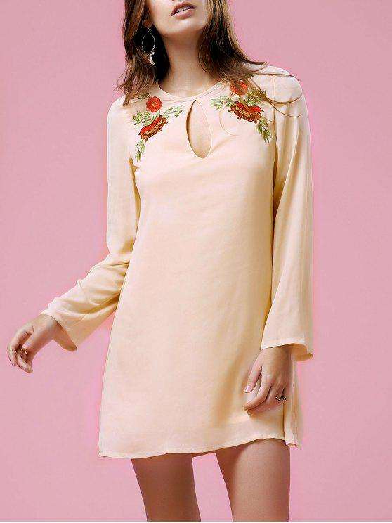 fancy Loose Printed Round Neck Long Sleeve Dress - SHALLOW PINK XL