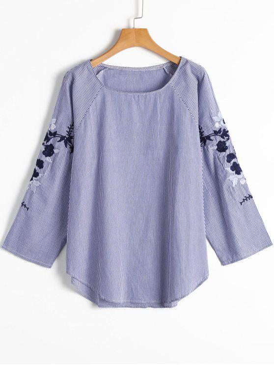 shop Stripes Floral Embroidered Sleeve Blouse - STRIPE S