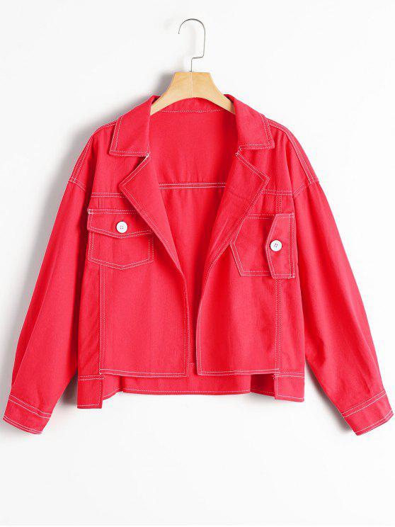 affordable Oversized High Low Denim Jacket - RED L