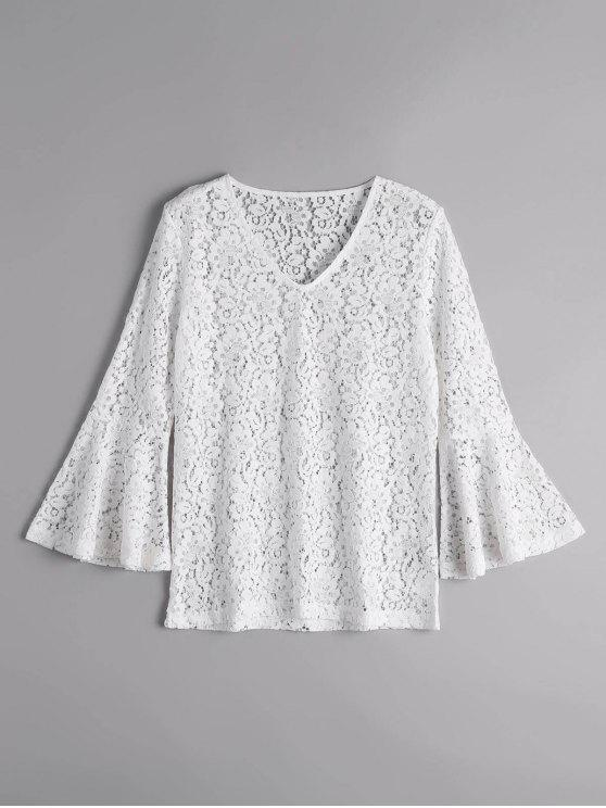 ladies Flare Sleeve Sheer Lace Blouse - WHITE M