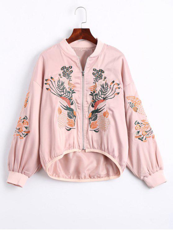 affordable Floral Embroidered High Low Bomber Jacket - PINK M