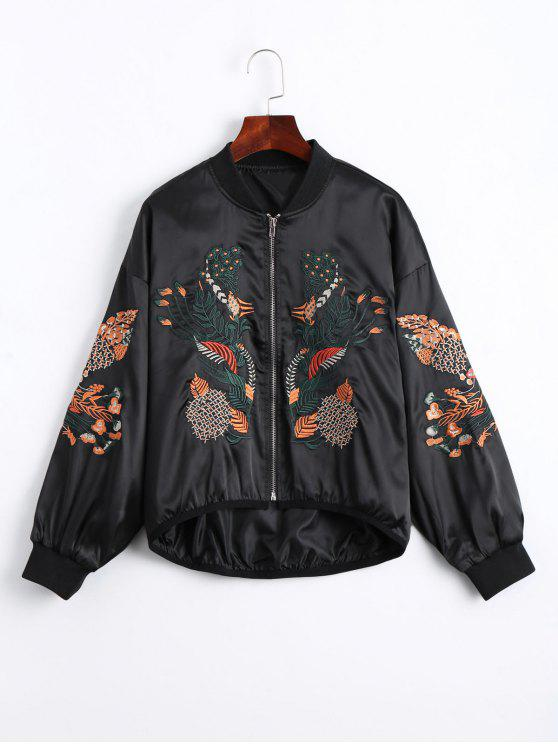 trendy Floral Embroidered High Low Bomber Jacket - BLACK M