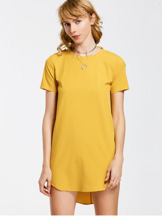 shop Bow Tie Mini Tunic Dress - YELLOW M
