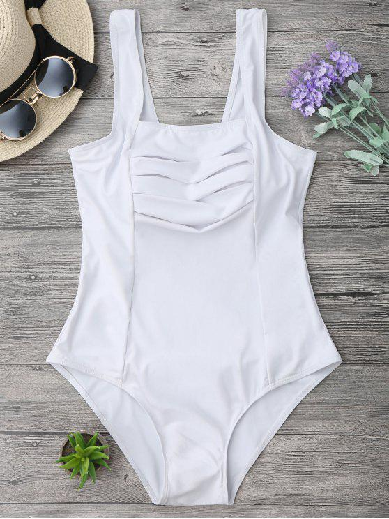 lady Shaping Square Neck Pleated One Piece Swimsuit - WHITE M