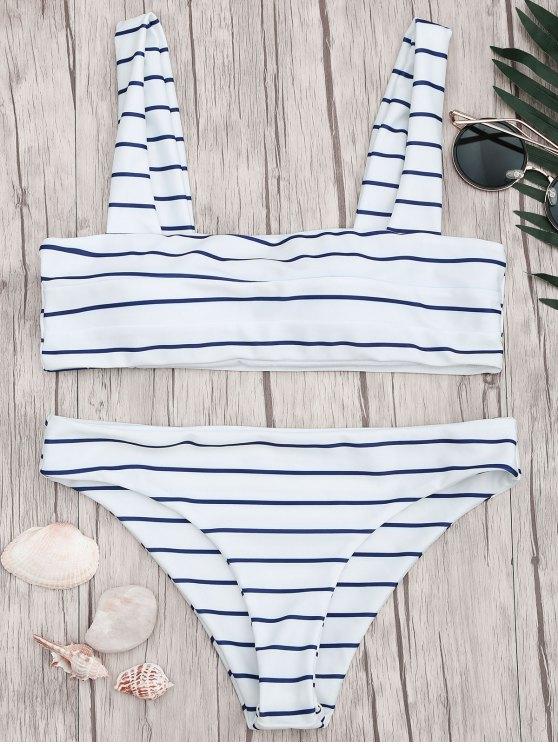 ladies Nautical Striped Square Neck Padded Bikini Set - BLUE AND WHITE S