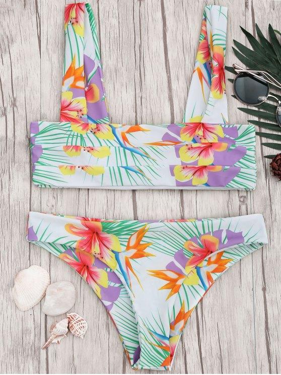 best Tropical Print Wide Straps Bandeau Bikini Set - FLORAL M