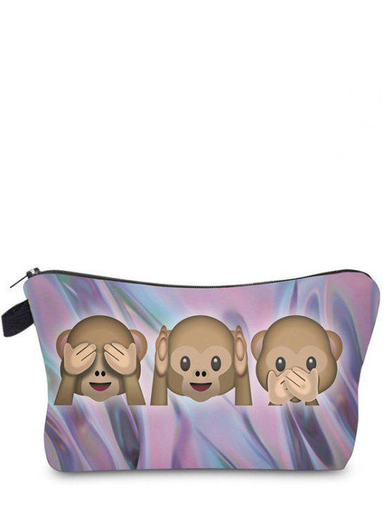 Emoji Print Makeup Bag - Violet Foncé