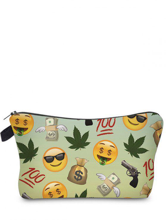 Emoji Print Makeup Bag - Vert clair
