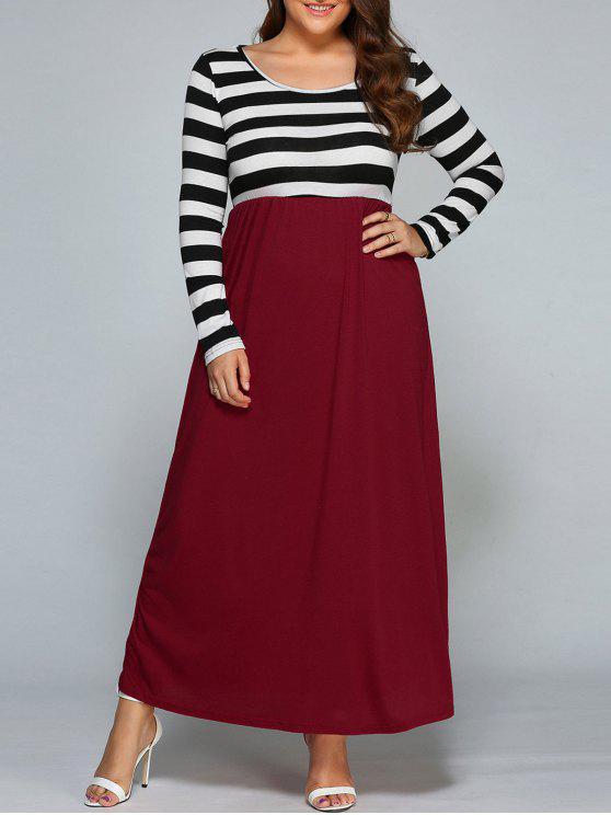 فستان كهنوتي مخطط ماكسي - الأسود والأبيض والأحمر 3XL