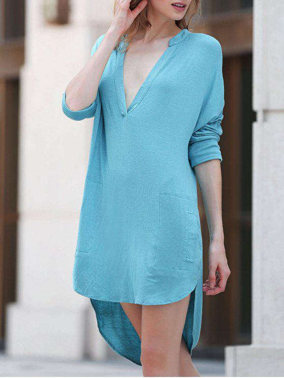 fashion Low Cut Long Sleeve Plunge Dress - LAKE BLUE L