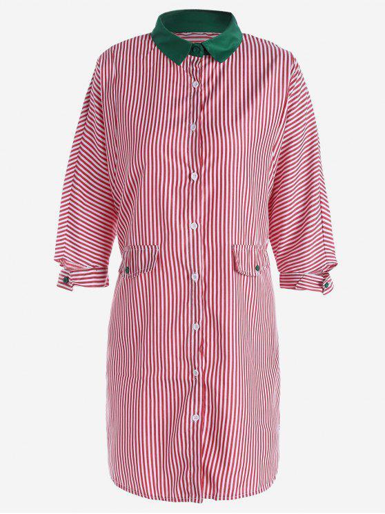 outfits Button Up Striped Shirt Dress - RED M