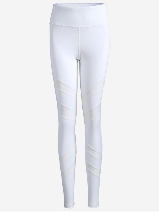 trendy Thigh Mesh Fit Sports Leggings - WHITE S