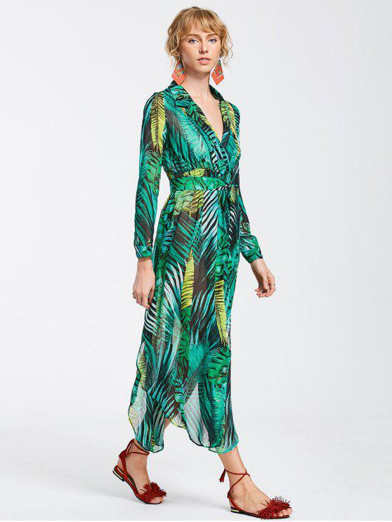 chic High Slit Tropical Beach Maxi Dress - GREEN S