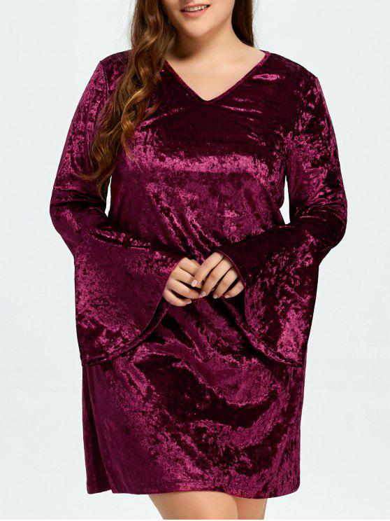 fashion Belled Sleeve Plus Size Velvet Dress - PURPLISH RED 3XL
