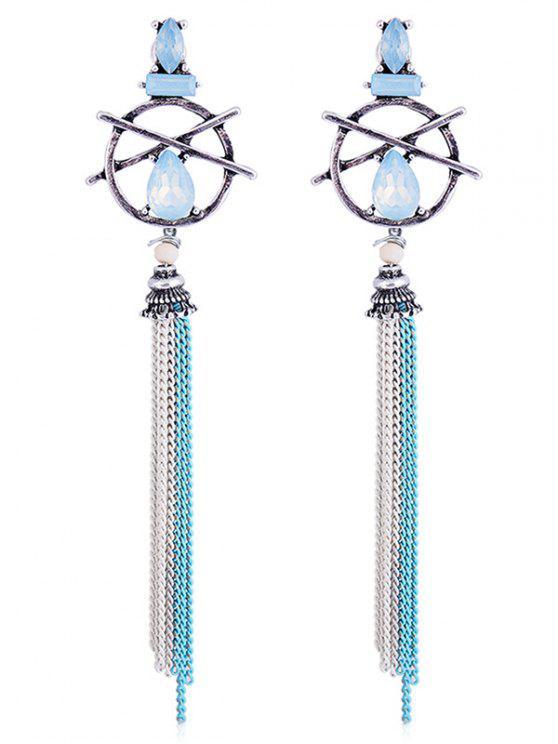shops Hollow Out Teardrop Artificial Gem Fringed Earrings - BLUE