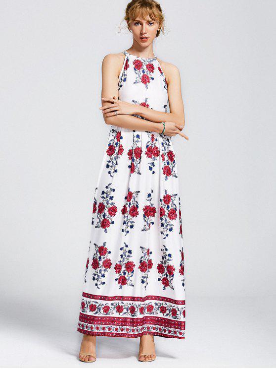 Sin mangas de flores impresas vestido maxi - Floral XL