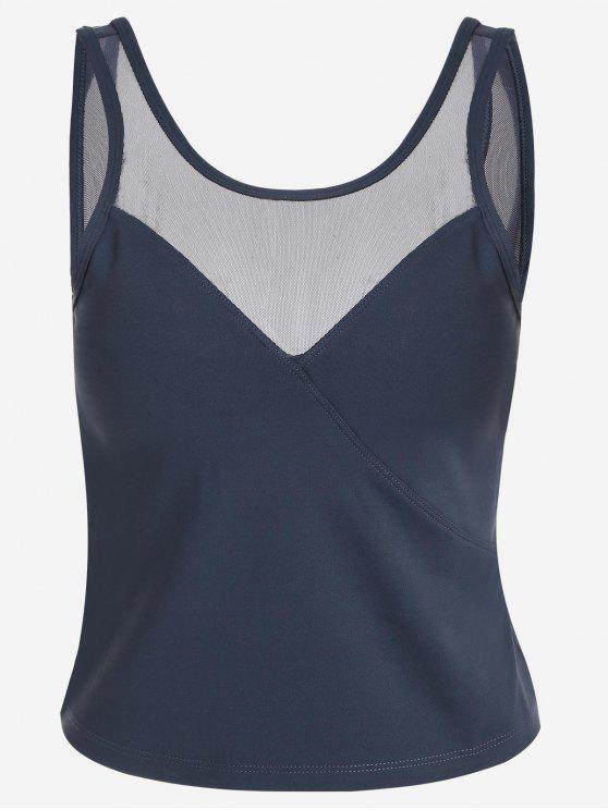 Sudadera con capucha acolchada con inserción de malla - Azul Gris S