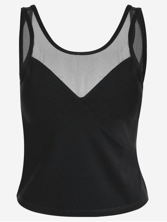 latest Padded Mesh Insert Sweat Tank Top - BLACK L