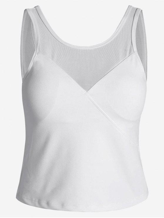 fancy Padded Mesh Insert Sweat Tank Top - WHITE M