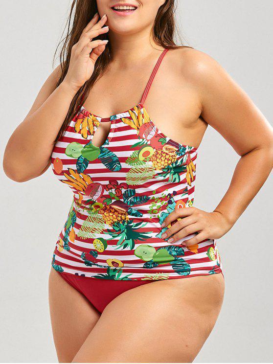 fashion Cross Back Tropical Fruit Print Plus Size Tankini Set - RED 3XL