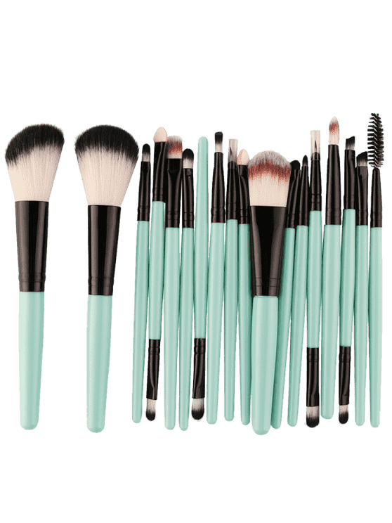 best 18Pcs Multifunctional Facial Makeup Brushes Set - BLACK AND GREEN