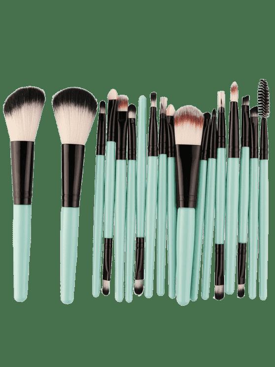 Conjunto com 18 Pincéis de Maquiagem Multiuso - Preto e Verde