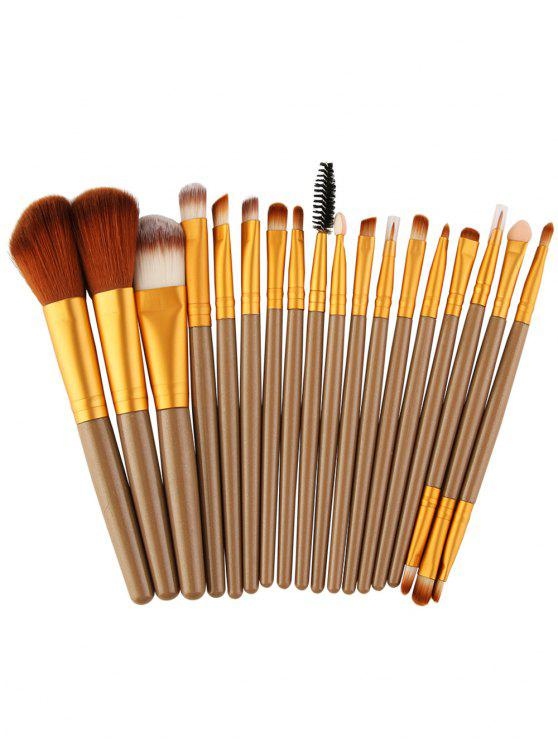 18Pcs Ensemble de brosses multifonctions pour maquillage facial - Brun et Or
