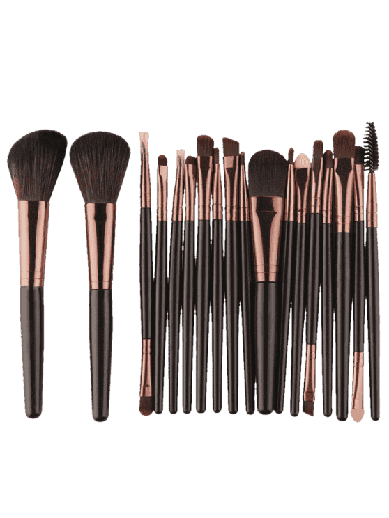 ladies 18Pcs Multifunctional Facial Makeup Brushes Set - BLACK BROWN