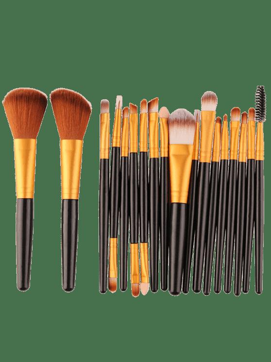 18pcs multifuncional maquillaje facial pinceles conjunto - Negro y Dorado