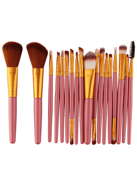 new 18Pcs Multifunctional Facial Makeup Brushes Set - GOLD AND PINK