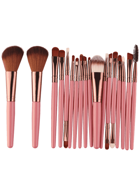 hot 18Pcs Multifunctional Facial Makeup Brushes Set - PINKISH BROWN