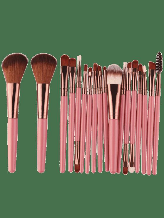18Pcs Ensemble de brosses multifonctions pour maquillage facial - Brun Rosâtre