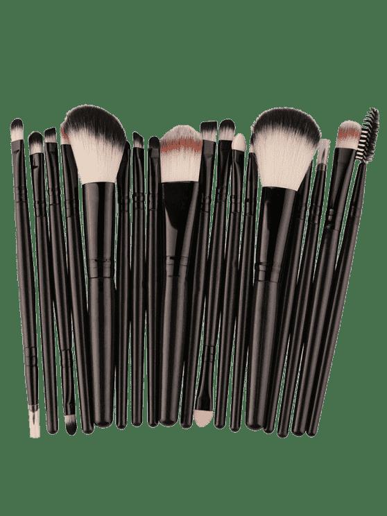 Ensemble de 18 Pièces de Pinceaux pour Maquillage Visage Multifonctions - Noir