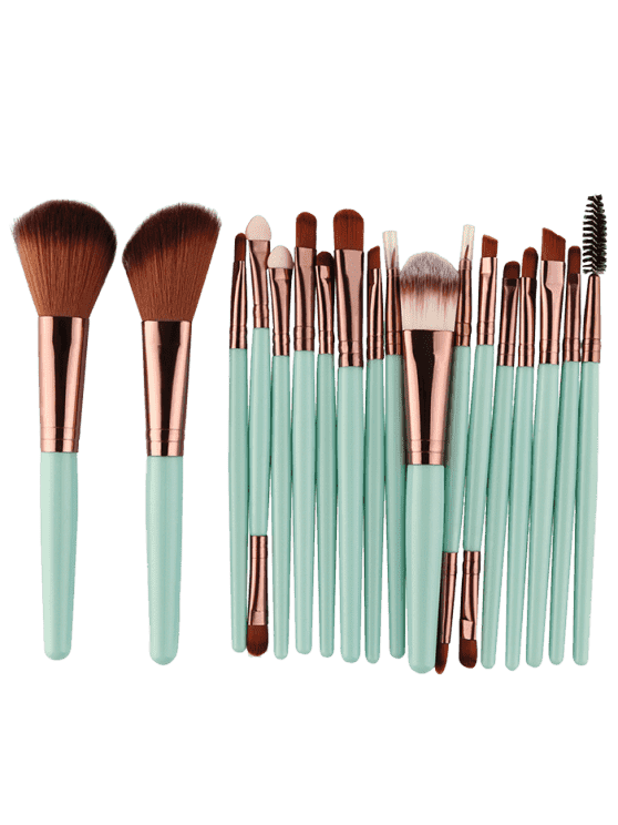 online 18Pcs Multifunctional Facial Makeup Brushes Set - GREEN + BROWN