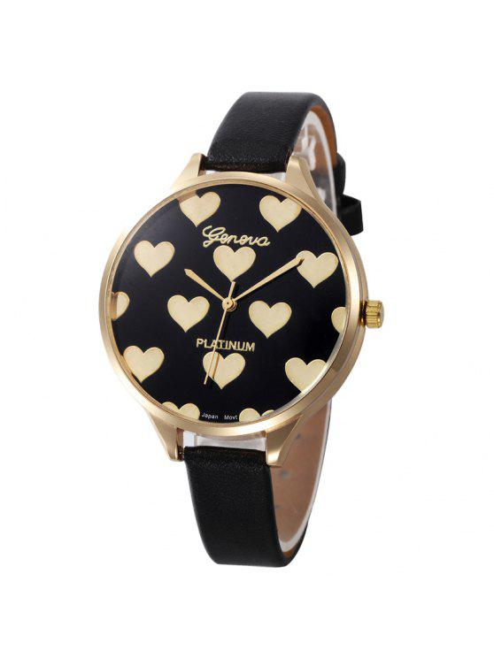 Heart Face Faux Leather Strap Watch - Preto