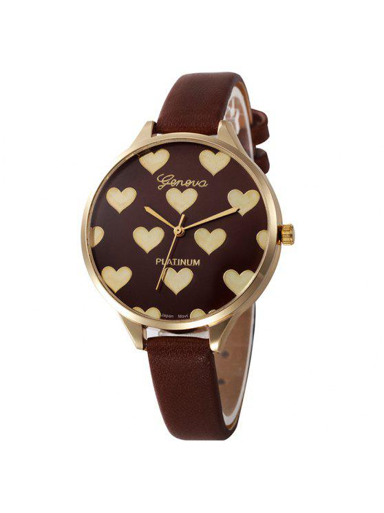 Heart Face Faux Leather Strap Watch - Marrom
