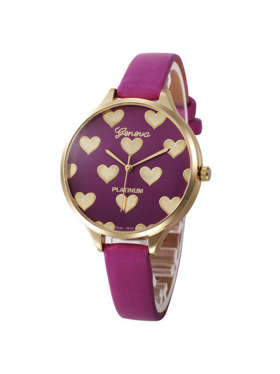 Heart Face Faux Leather Strap Watch - Pourpre