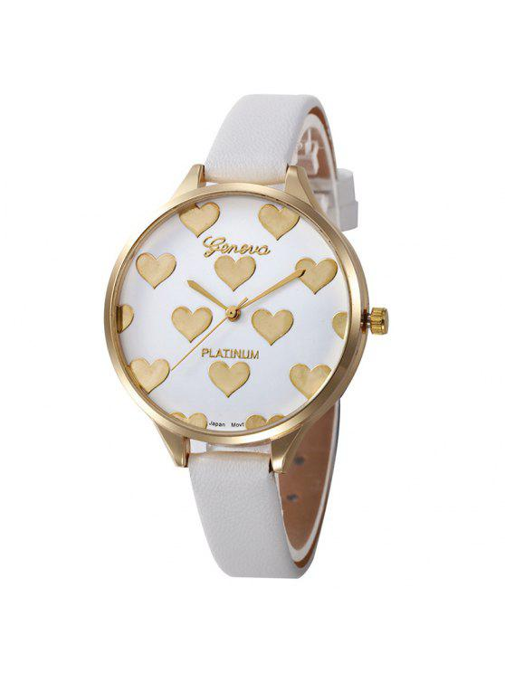 Heart Face Faux Leather Strap Watch - Blanc